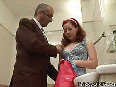 Succulent wet red-haired chick blowing and engulfing hirsute balls of an old horny prof.