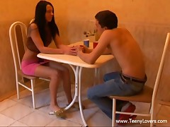 Those teenies' date was all so sweet romantic and stuff up to their first kiss. From then on the excitement took over and they just truly lost control virtually ripping off their clothing to have a fun oral sex on a table and fuck on a petite pantry chair. Not comfy sufficiently? Who cares when a large youthful dick is so unfathomable in that narrow legal age teenager cum-hole and the beauty is about to cum hard when her horny boyfriend nails her from behind. Yeah baby!
